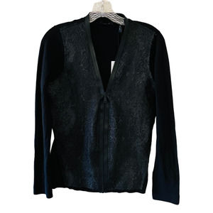 Theory Black Textured Front Full Zip Cardigan